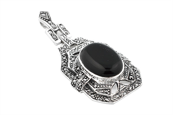 Sterling Silver Art Deco Onyx Marcasite Pendant
