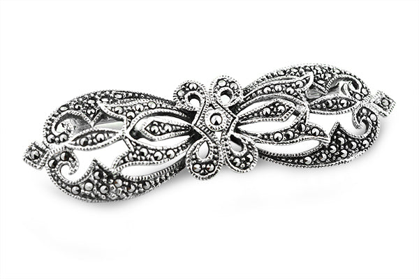 STERLING SILVER VICTORIAN MARCASITE BROACH