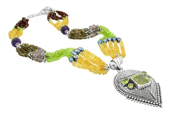 STERLING SILVER MUGHAL STYLE MULTI STONE PERIDOT NECKLACE