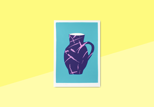 We are out of office - A screen print of a purple vase