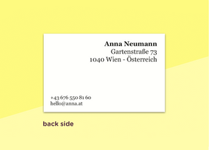 "business cards  – ""verlauf yellow"""