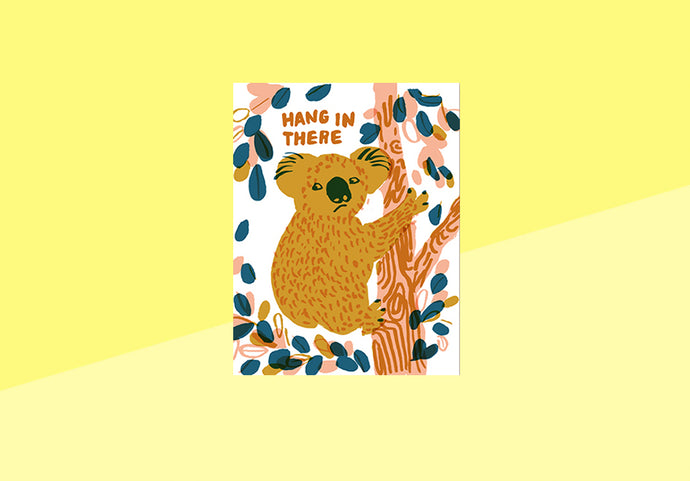 Letterpress Greeting card - EggPress - Hang in there Koala
