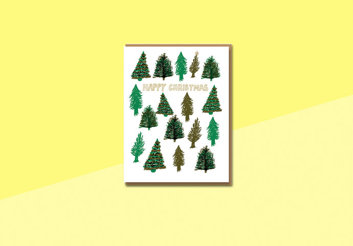 Greeting card - Egg press - Happy Christmas Trees