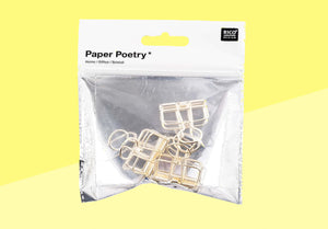 Paper Poetry - wire clips - 19mm - gold