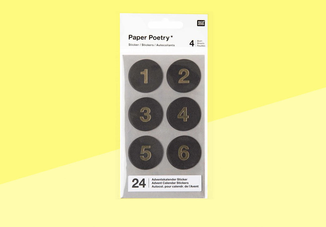 Paper Poetry - advent stickers - black