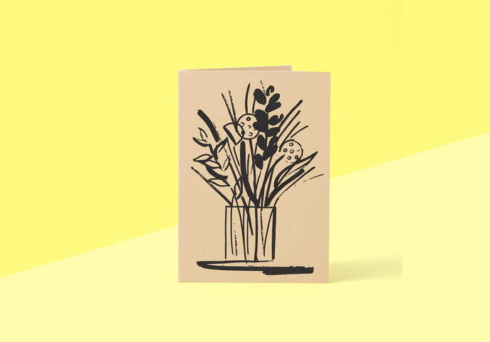 Wrap - Greeting card - Vase and Sterns