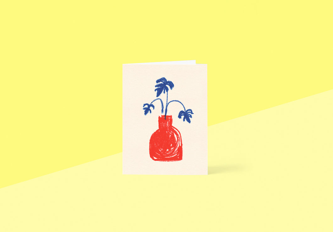 Wrap - Greetings card - Red Vase