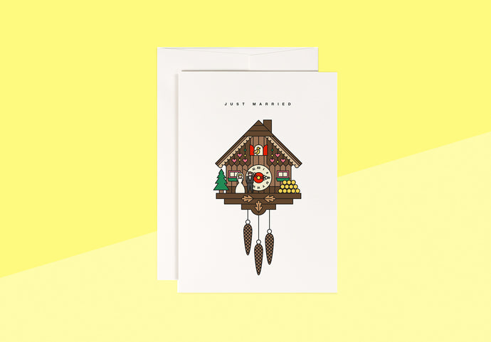 RED FRIES - greeting card - cuckoo clock