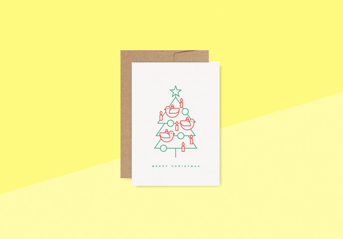 RED FRIES - Letterpress Card - bird tree