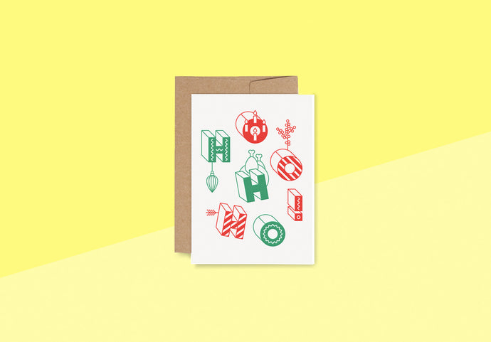 RED FRIES - Letterpress Card - red-green ho ho ho