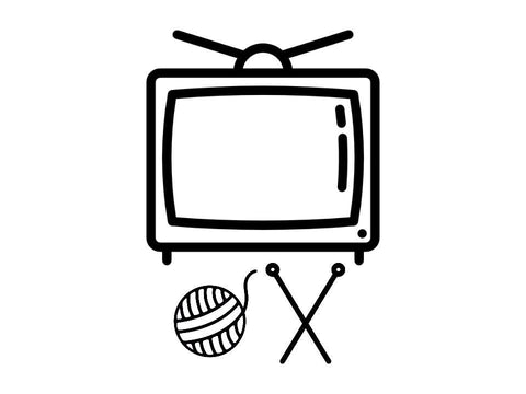 illustration of television set, knitting needles, and yarn