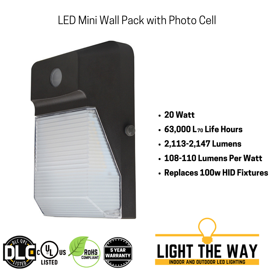 Perimeter//area w//photocell 20 Watt LED Outdoor Lighting Diecast Wall Pack