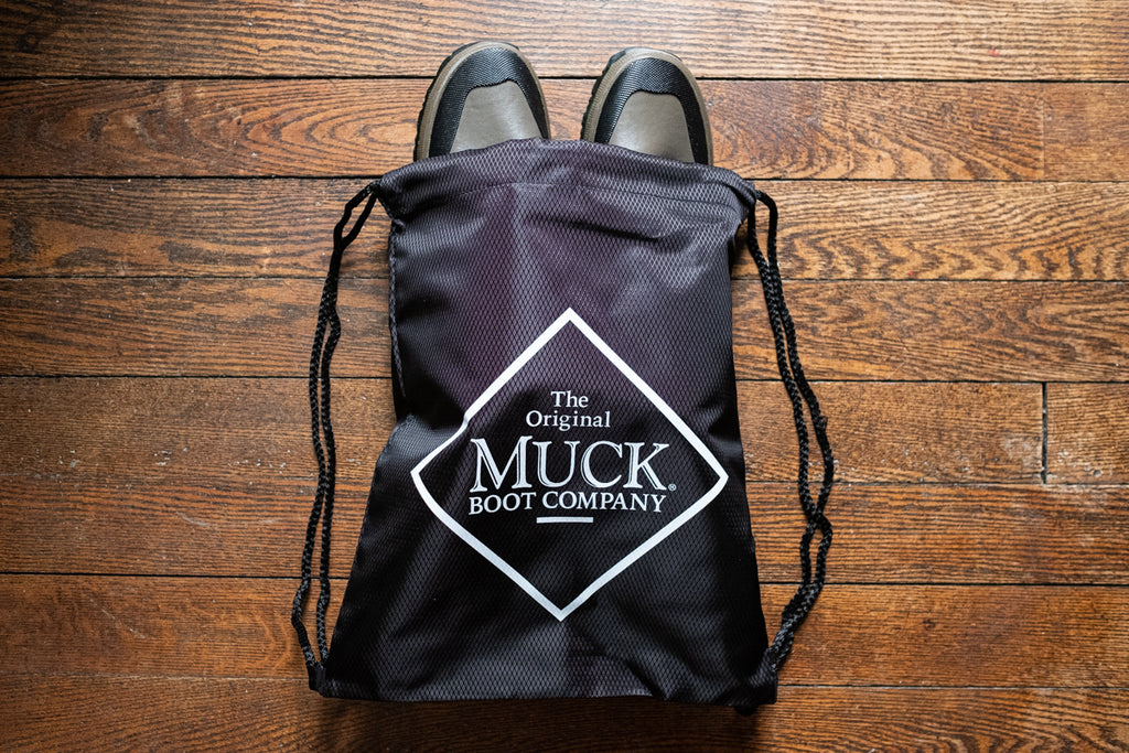 Lightweight and flexible roll forager boots and store them in the complementary MuckTuck nylon bag