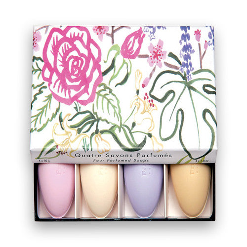 Aquarelle soap set -Rose, Freesia, Verbena, Lavender- 4x1.7oz./4x50g