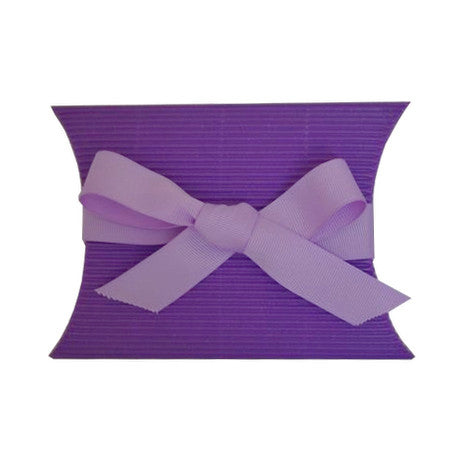 Medium Kraft Pillow Lavender Purple Box with Grosgrain ribbon Lavender