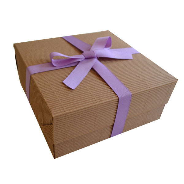 Kraft Signature Box Natural with Lavender Grosgrain ribbon
