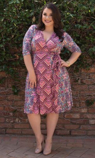 In the Mix Wrap Dress - Fierce by Artavia