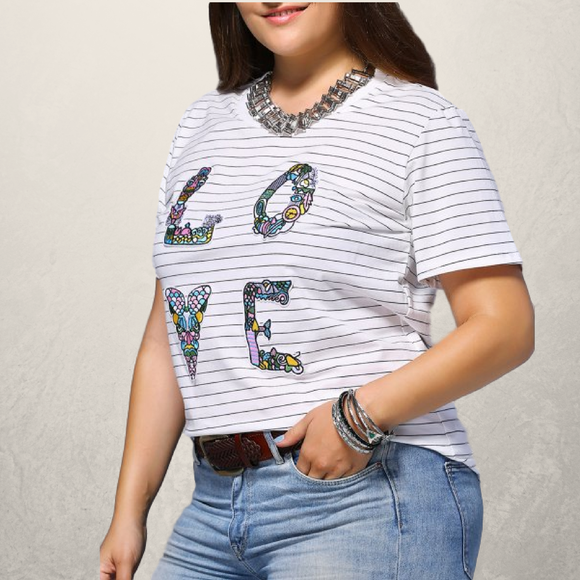 Striped LOVE Plus Size Graphic Tee - Fierce by Artavia