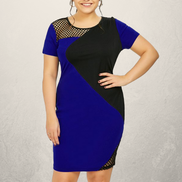 Electric Blue and Mesh Bodycon Dress