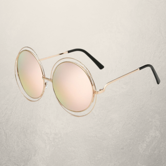 Chic Hollow Out Round Mirrored Sunglasses