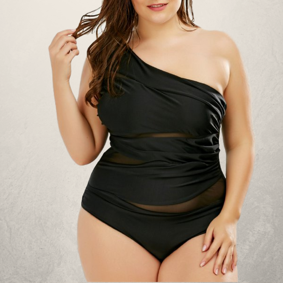 Mesh Trim One Shoulder Plus Size Swimsuit - Fierce by Artavia