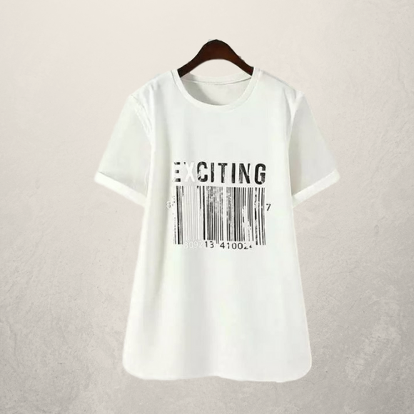Chic Plus Size Bar Code Pattern Patchwork T-Shirt
