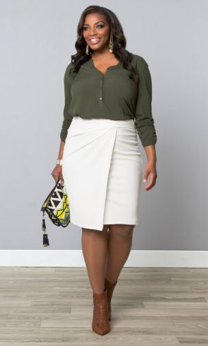 Uptown Faux Wrap Skirt