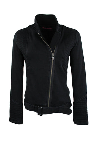 Black Women's Fleece Biker Jacket