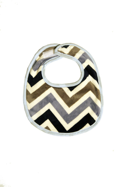 Grey/Navy Chevron Plush Terry Bib