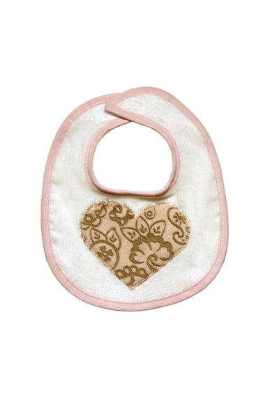 Plush Damask Heart Bib