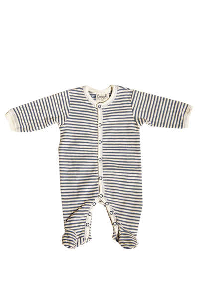 Velour Stripe Ribbed Footie
