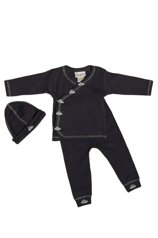 Navy Car Applique 3 pc Kimono Set