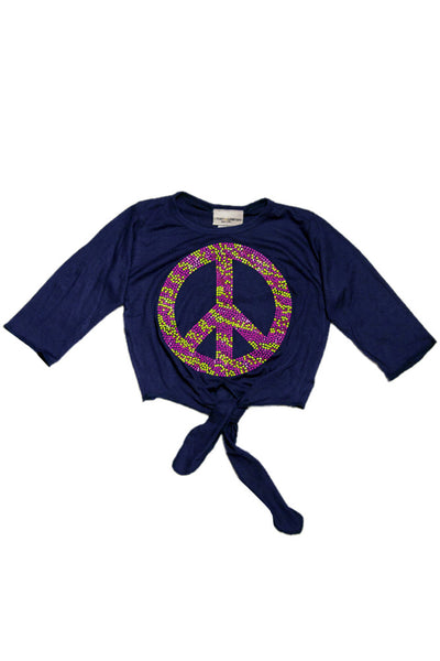 Peace Sign Applique Tie-Top