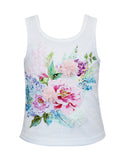Floral Sparkly Tank Top with Lace Back Detail