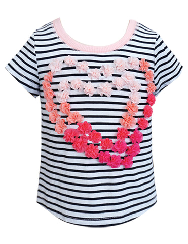 Rosette Heart Striped Tee