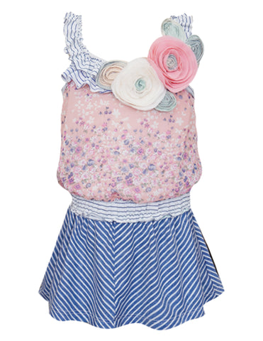 Flowers & Stripes Smocked Sundress