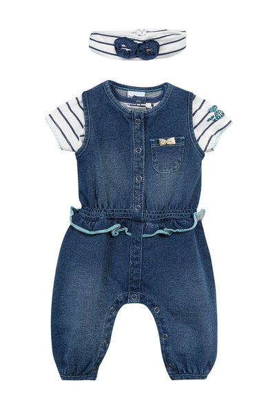 KNIT DENIM ROMPER,TEE,HB 3PC