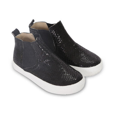 Textured Leather Slip On HighTop Shoe