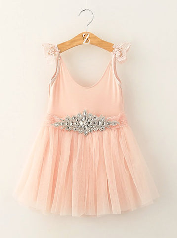 Princess Jeweled Belted Party Dress