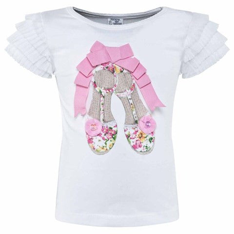 Ruffle Sleeves Applique Tee