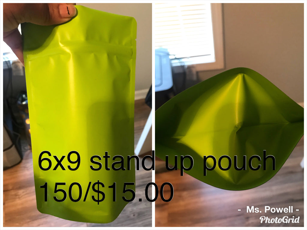 150 green stand up pouches