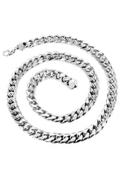Chaîne en or - Collier Homme fine à maillons Miami Cuban en or blanc 10 ct
