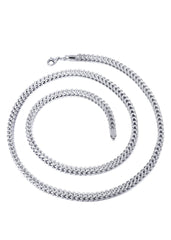 Chaîne en or - Collier Homme fine taille diamant Franco en or blanc 10 ct