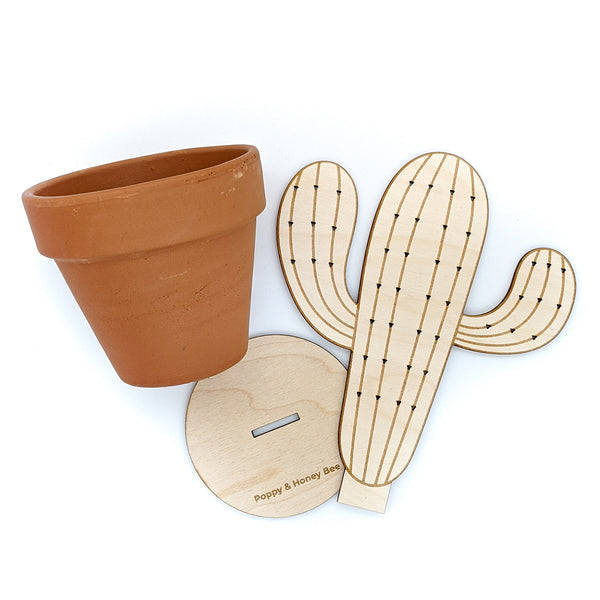 Wood Cactus Earring Holder with Secret Storage
