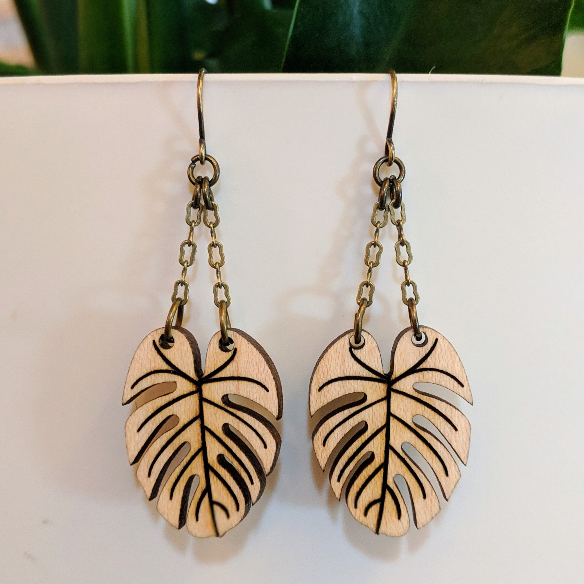Small Monstera Earrings