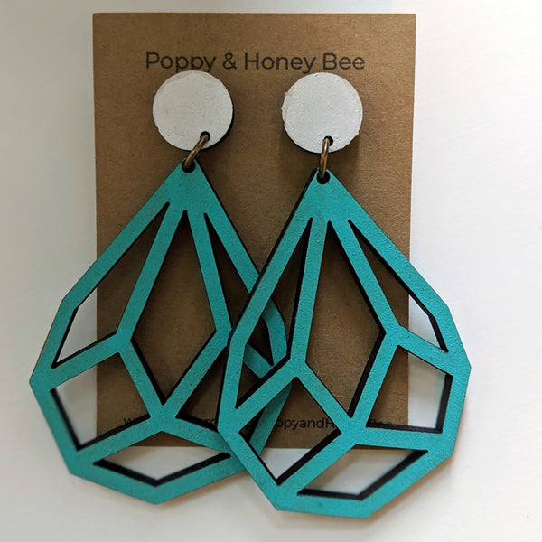 Geometric Diamond Dangle Stud Earrings - Large