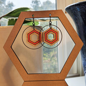Wooden Hexagon and Antique Brass Earrings