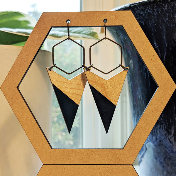 Arrow and Hexagon Wood and Antique Brass Earrings - One Color