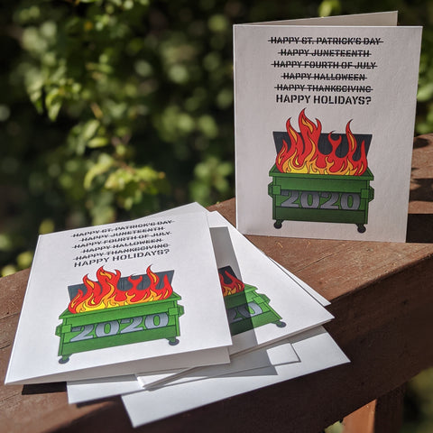 2020 Dumpster Fire Happy Holidays Cards - Set of 6