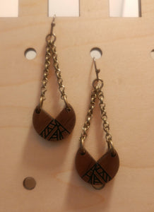 Geometric Walnut Earrings